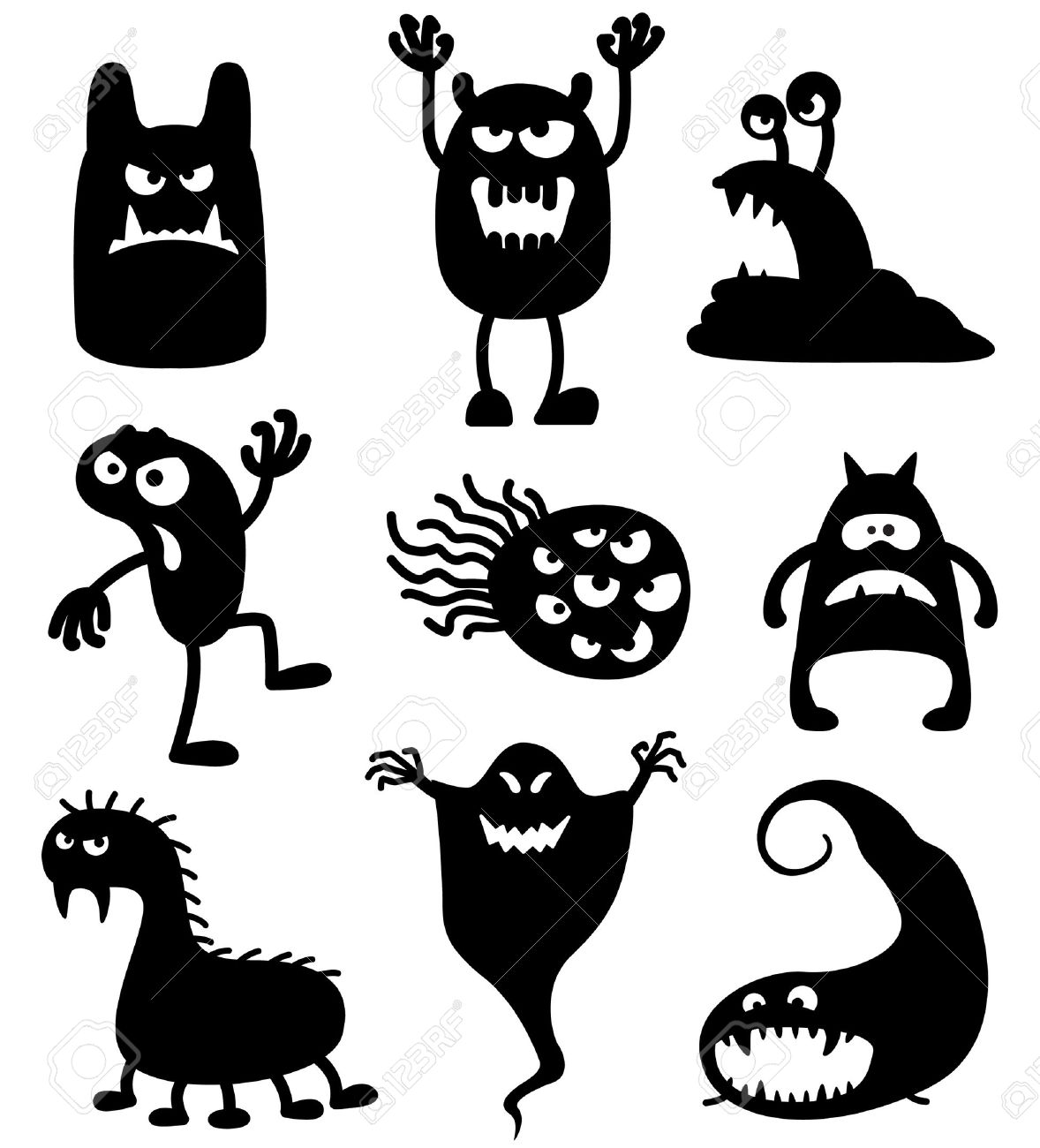 Silhouettes Of Cute Doodle Monsters.