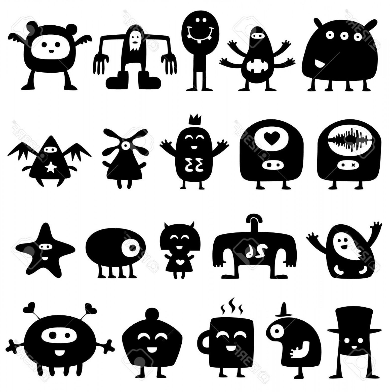Excellent Monster Silhouette Vector Layout.