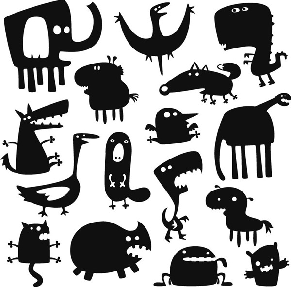 Cartoon monster silhouette vector material.