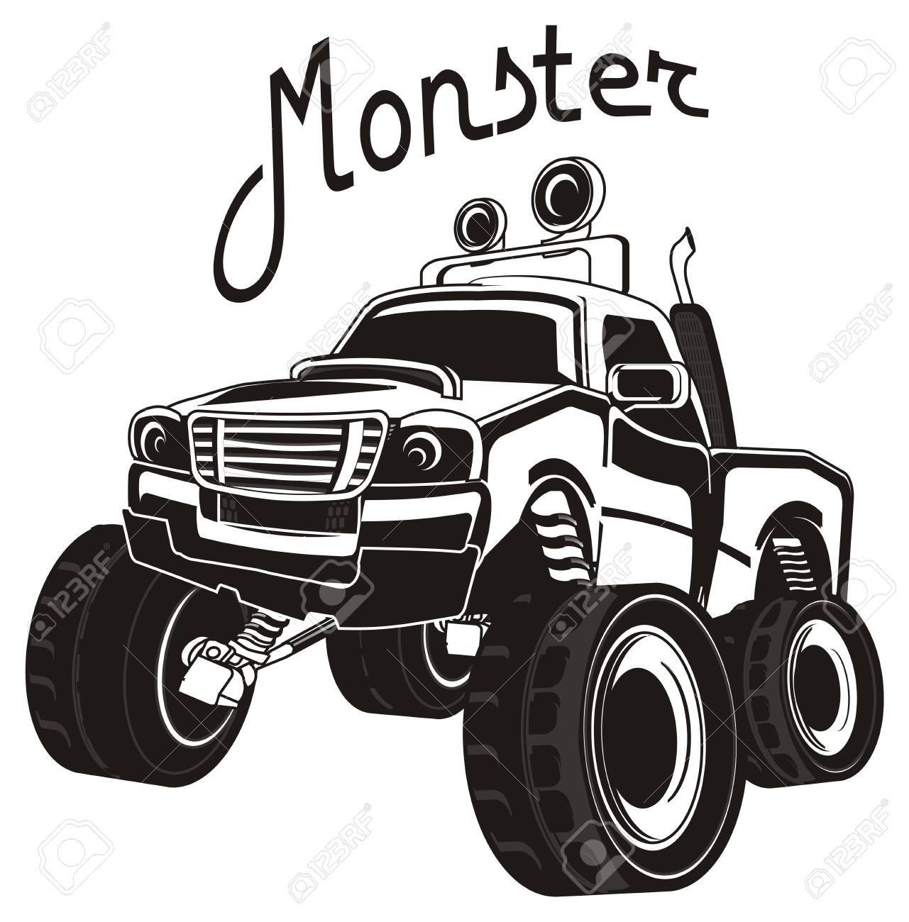 black and white monster truck and his name.