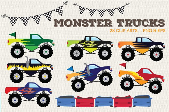 Monster Trucks Clip Art.