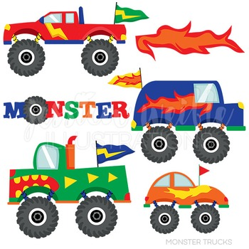 Monster Trucks Cute Digital Clipart, Big Truck Clip Art.