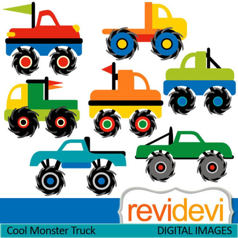 Cute monster trucks clip art commercial use, instant download.