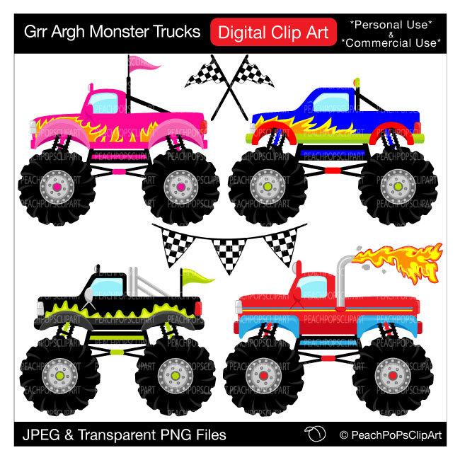 monster trucks clipart digital clip art.