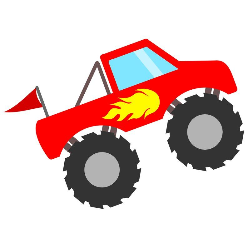 Red Monster Truck SVG File with Flames and Flag, Monster.