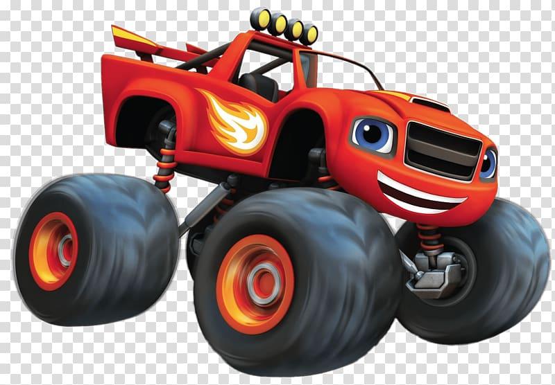 Red and black monster truck illustration, YouTube.