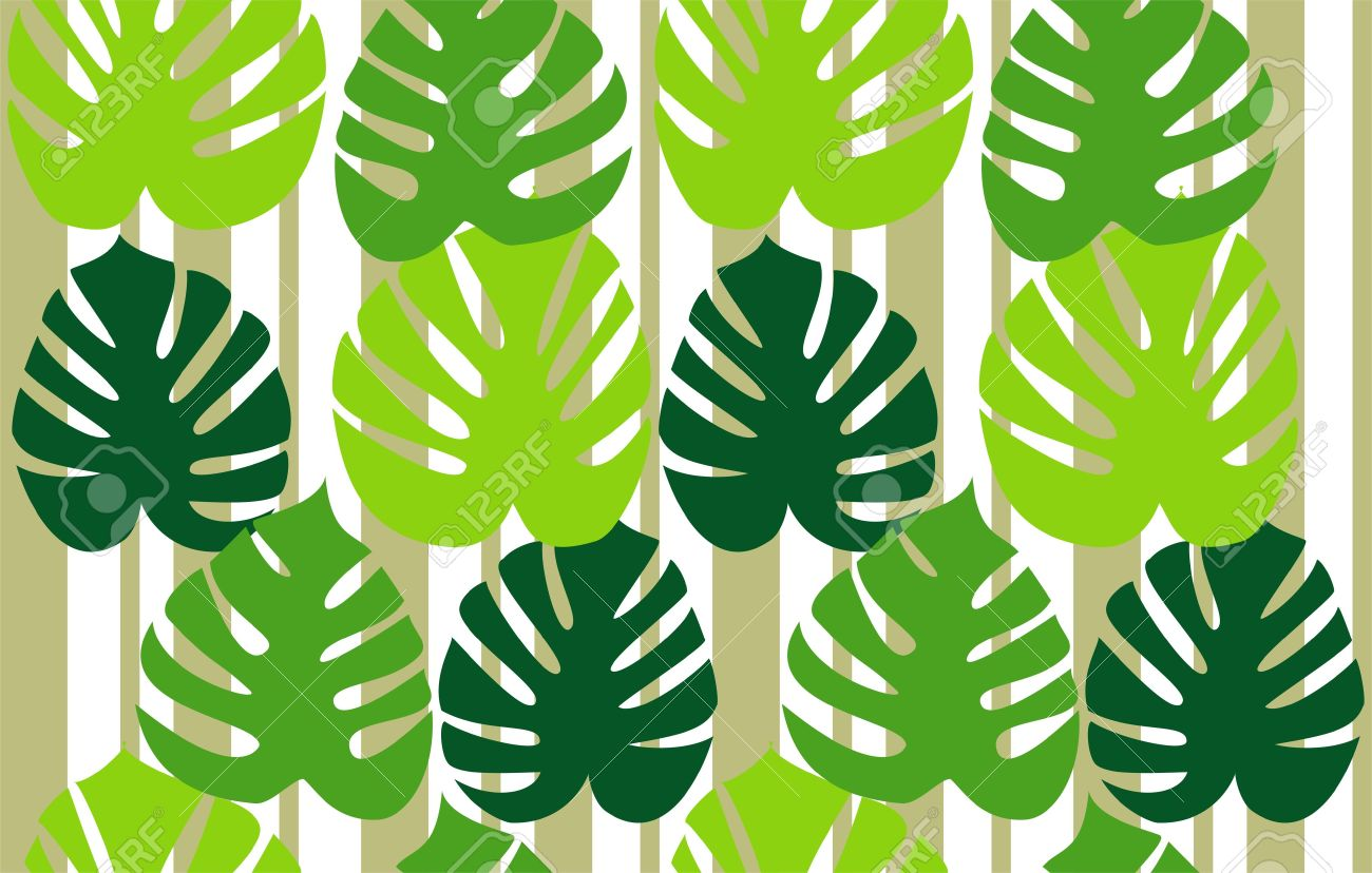 Monstera Deliciosa Floral Background Vector Royalty Free Cliparts.