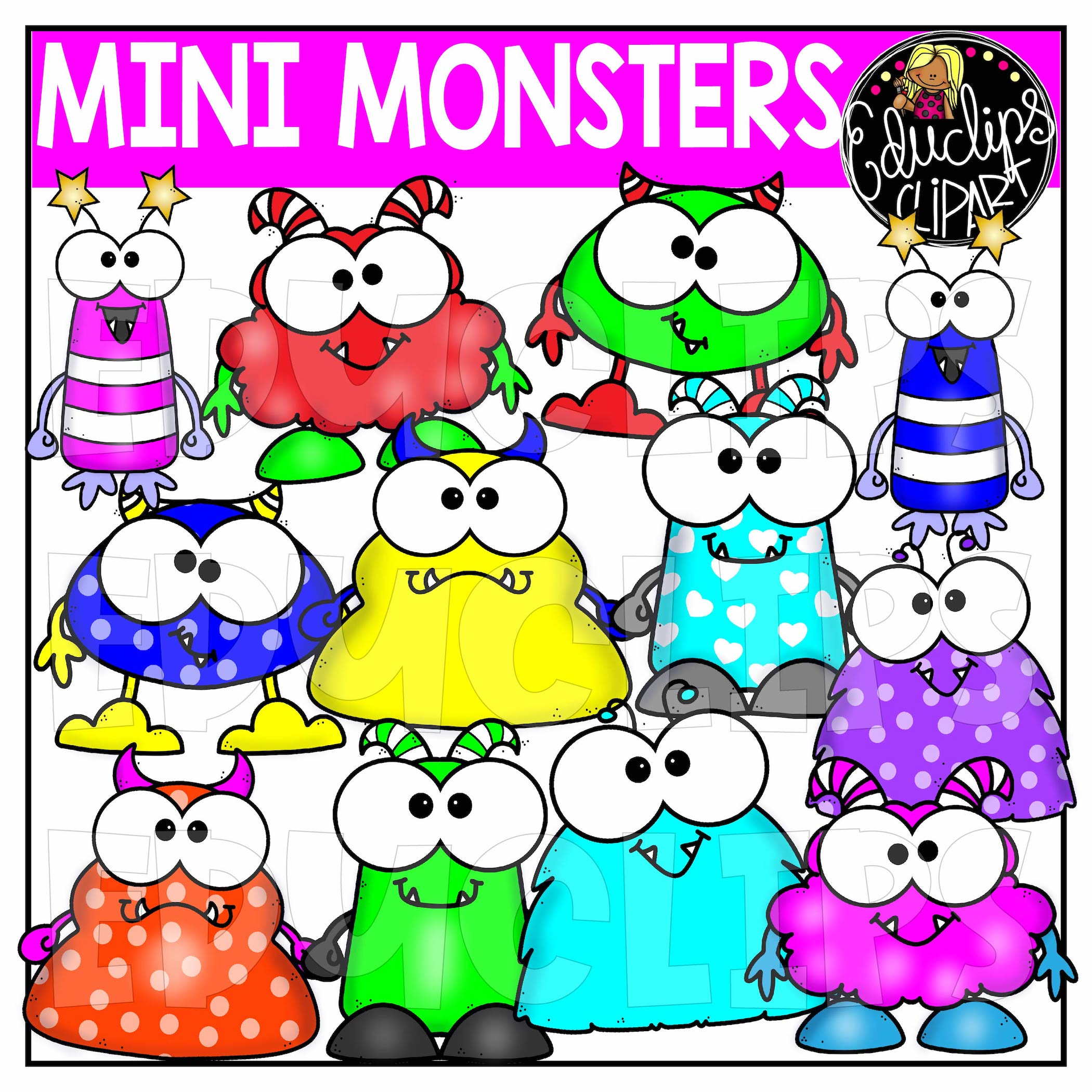 Mini Monsters Clip Art Set.