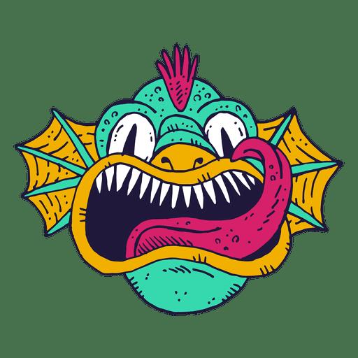 Monstruo cara ilustración de peces.