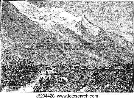 Clip Art of Mont Blanc, near Chamouny et le Mont Blanc vintage.