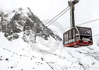 Mont Blanc Cable Car Stock Image.