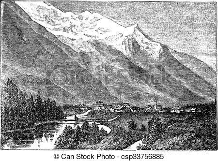 Vector of Mont Blanc, near Chamouny et le Mont Blanc vintage.