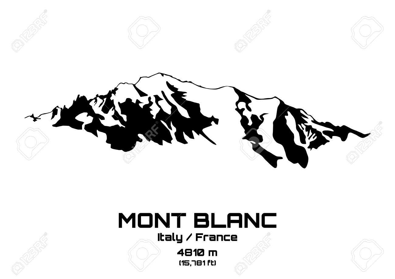Outline Vector Illustration Of Mont Blanc (4810 M) Royalty Free.