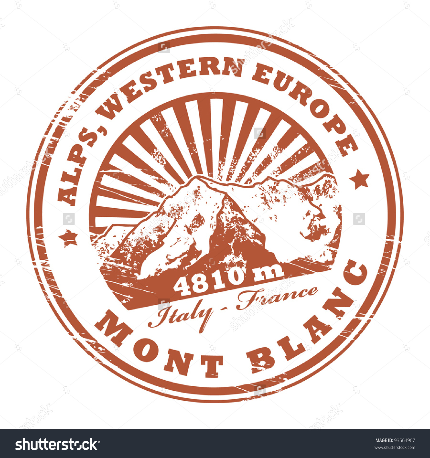 Grunge Rubber Stamp With The Mont Blanc, Highest Mountain In The.