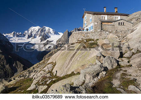 "Stock Photograph of ""Refuge du Couvercle, Mont Blanc at back, Mont."