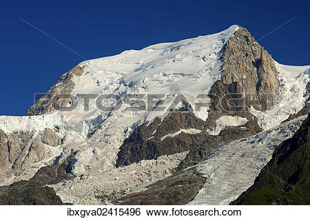 "Stock Images of ""Bossons Glacier, Glacier des Bossons, summit of."