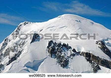 Stock Image of Mont Blanc, peak of Mont Maudit in the foreground.
