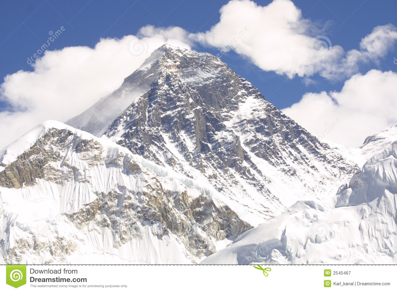 Mount Everest 8848 M Royalty Free Stock Photography.