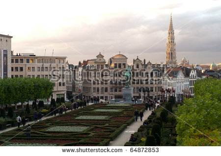 View From Mont Des Arts In Brussel With Church And Basilica In.
