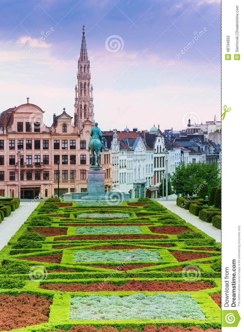 Beautiful Mont Des Arts Garden And Brussels View Stock Photo.