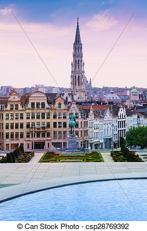 Stock Photographs of Mont des Arts Garden and Brussels panorama.