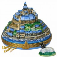 Mont St Michel with Landscape & Sheep Limoges Box by Beauchamp.