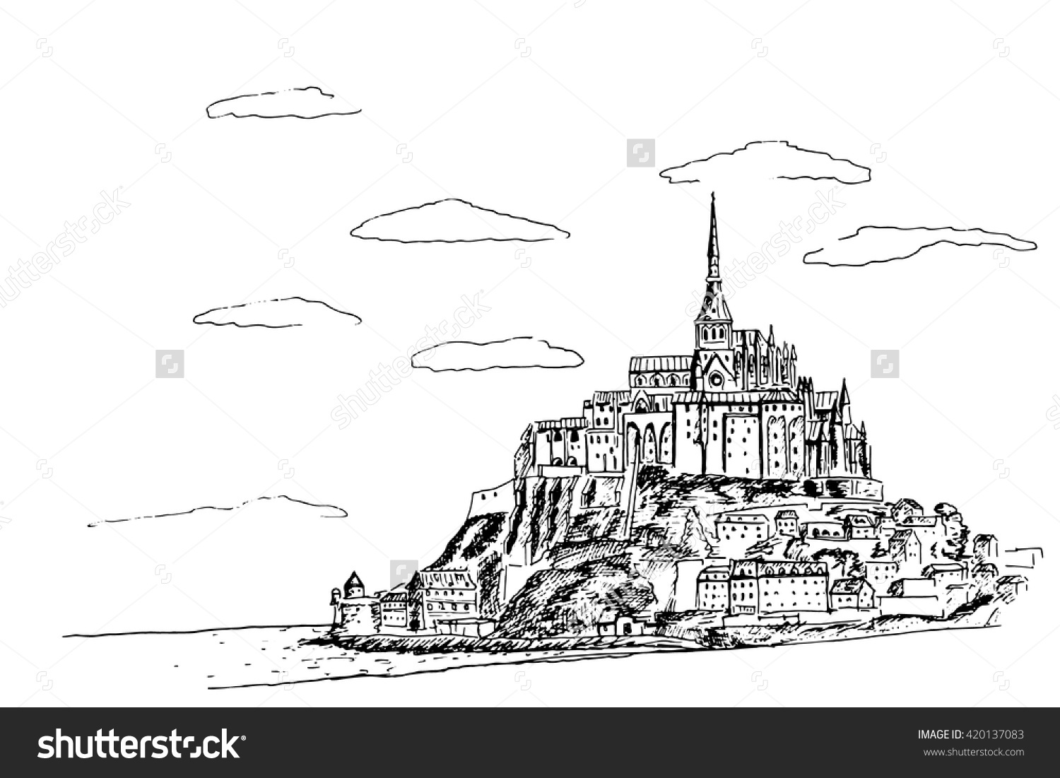 Vector Sketch Mont Saint Michel Normandy Stock Vector 420137083.