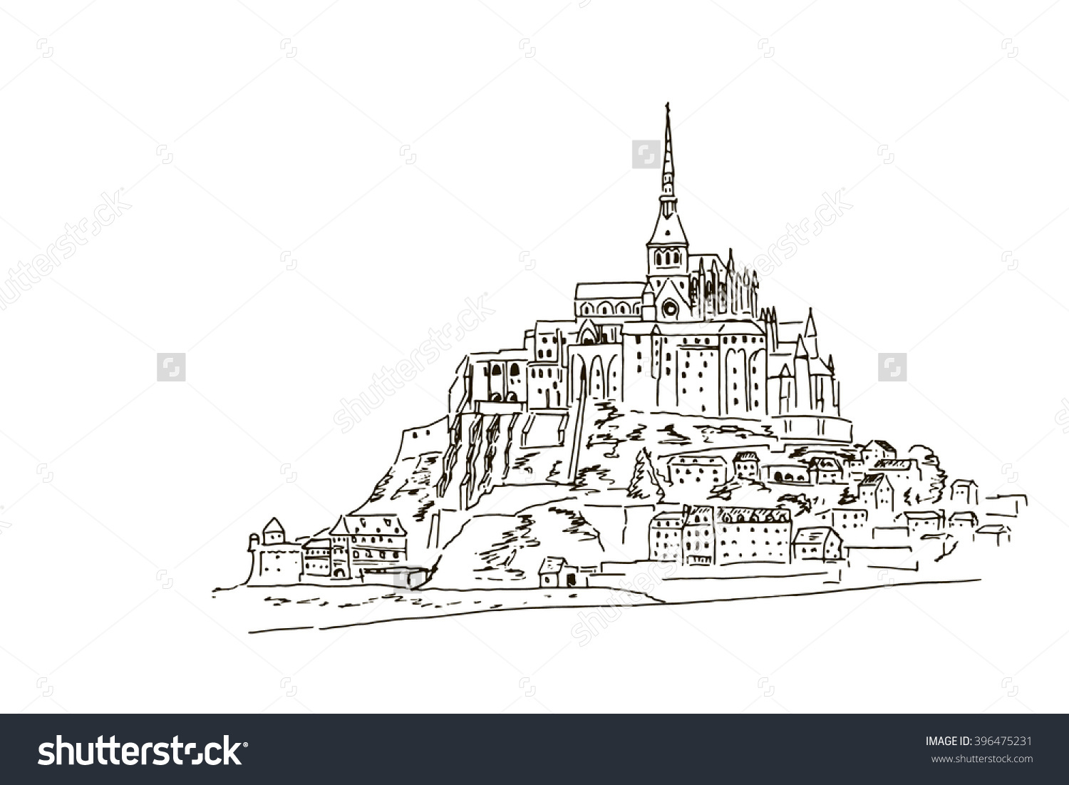 Vector Sketch Mont Saint Michel Normandy Stock Vector 396475231.