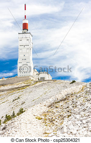 Stock Photo of weather station on summit of Mont Ventoux, Provence.