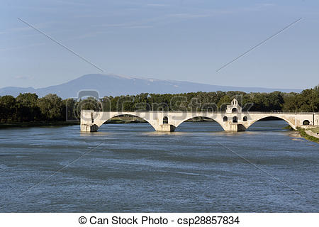 Stock Photos of bridge in avignon france mont ventoux.
