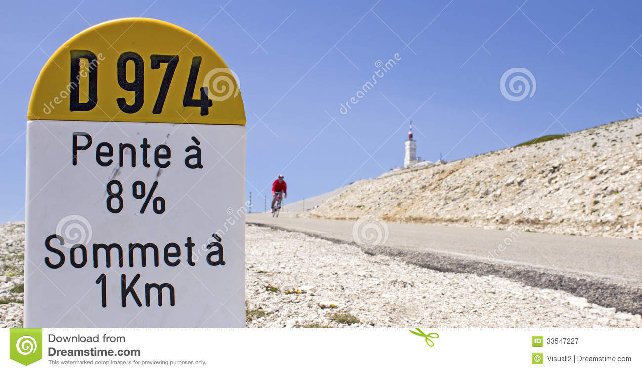 Mont Ventoux, Milestone. France. Royalty Free Stock Images.