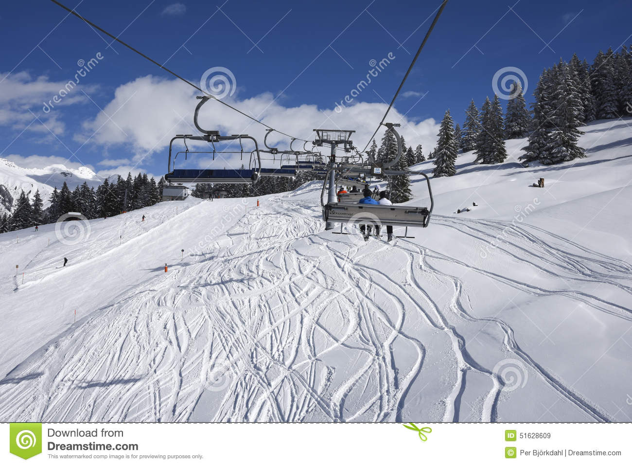 Chair Lift And Skisloopes Gaschurn Editorial Stock Image.