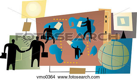 Drawings of People doing deals around the globe, montage vmo0364.