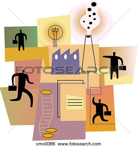 Clip Art of A montage of a contract, handshake, suit, and.