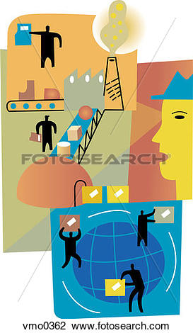 Clip Art of World export and distribution montage vmo0362.