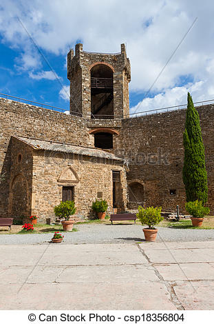 Stock Photography of Castle of Montalcino, city of Brunello wine.
