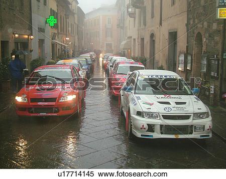 Stock Image of rally car, Italy, Tuscany, Montalcino, Toscana.