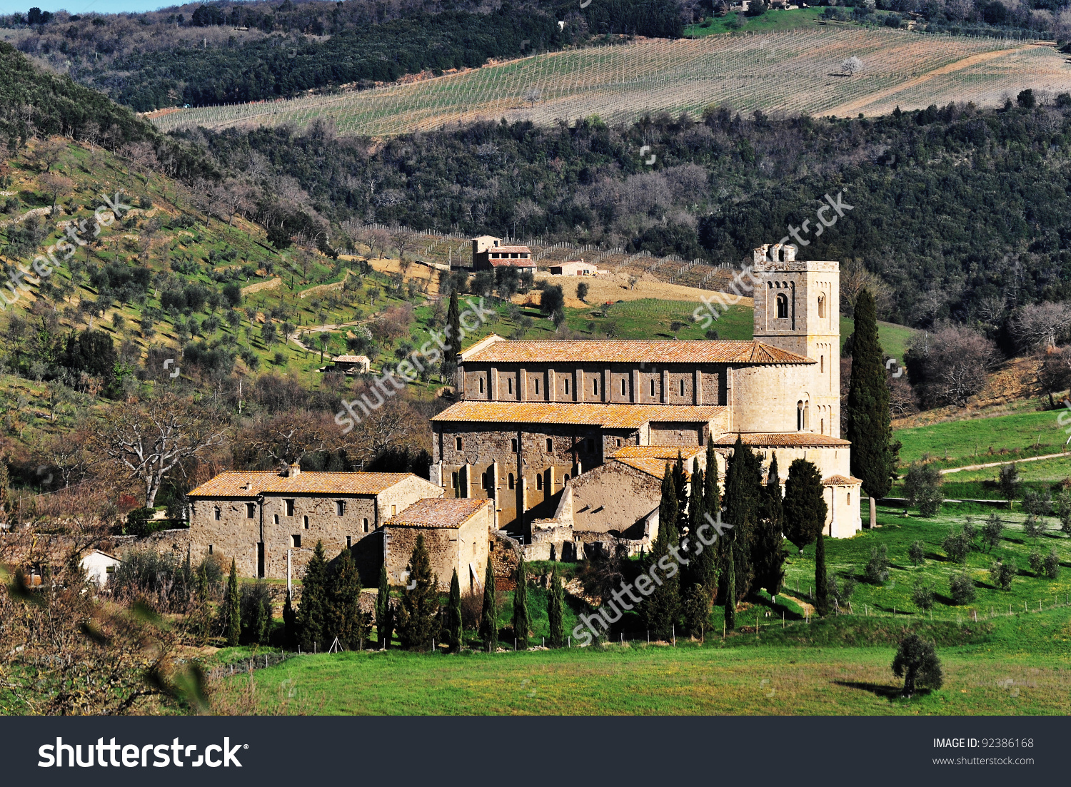 Medieval Abbey In Montalcino, Tuscany/Sant'Antimo Abbey In.