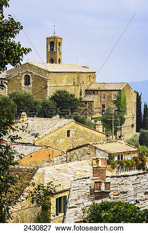 Picture of A church and houses; Montalcino, Tuscany, Italy 2430827.