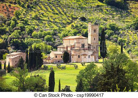 Stock Photography of Sant Antimo, Castelnuovo Abate Montalcino.
