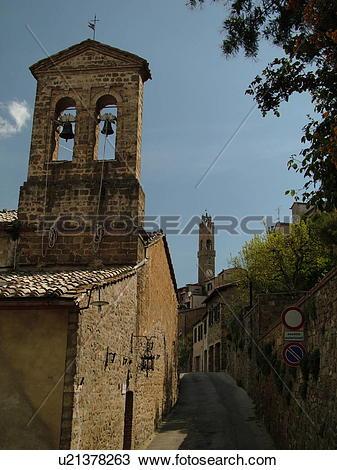 Stock Photo of Montalcino, Tuscany, Italy, Toscana, Europe, Bell.