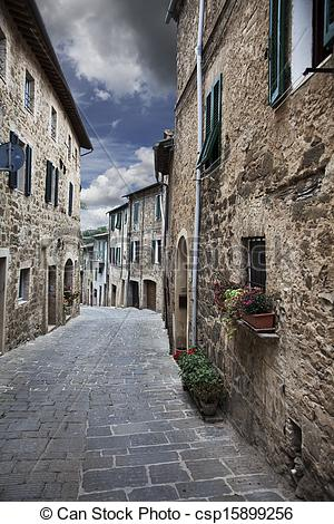 Stock Images of Ancient alleyway (Montalcino. Tuscany, Italy.