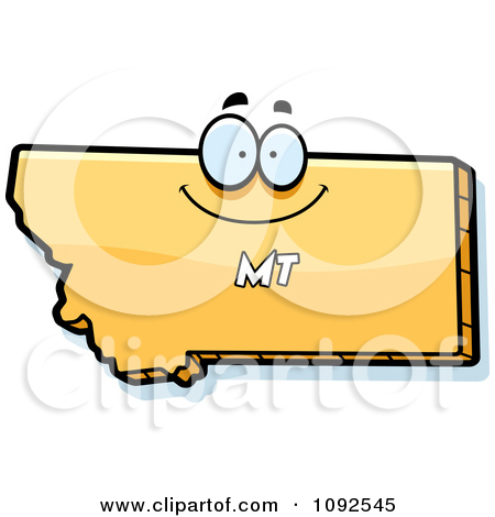 Clipart Happy Yellow Montana State Character.