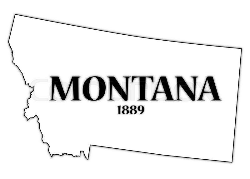 A Montana state outline with the date of statehood isolated on a.