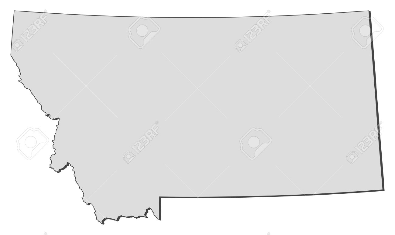 Map Of Montana, A State Of United States. Royalty Free Cliparts.