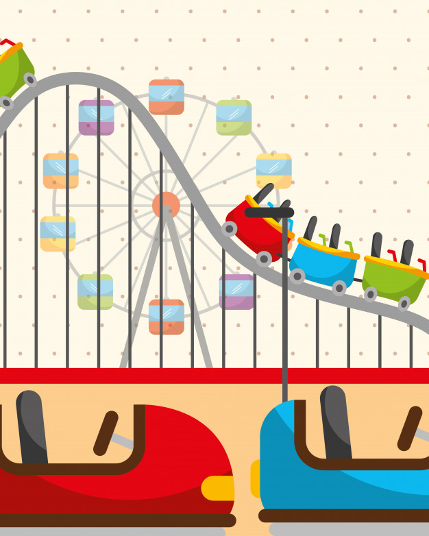 Roller coaster ferris wheel Vector.