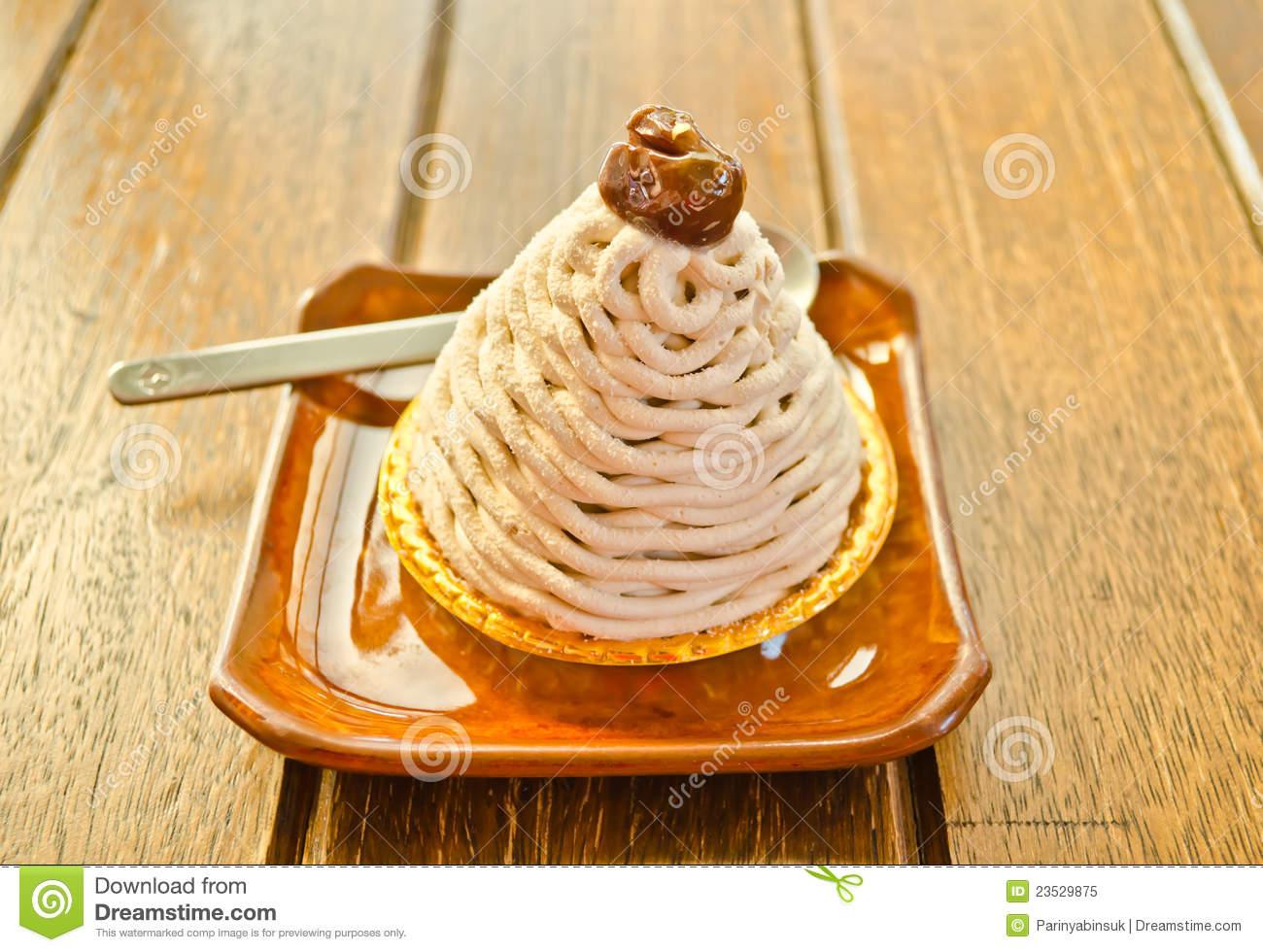 Mont Blanc , Chestnut Cream Cake Royalty Free Stock Photo.