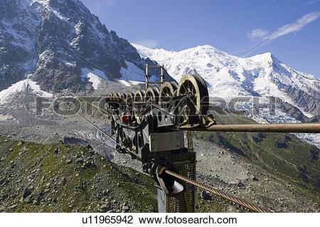 Stock Photo of Cables, Mont Blanc, Aiguille du midi, Chamonix.
