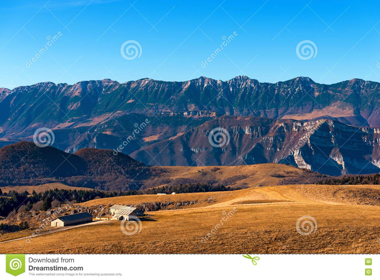 Plateau Of Lessinia And Monte Baldo.