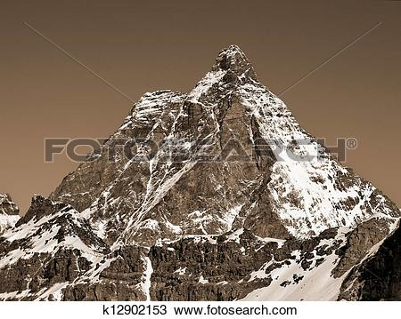 Stock Photo of Monte Cervino (Matterhorn) a view from the italian.